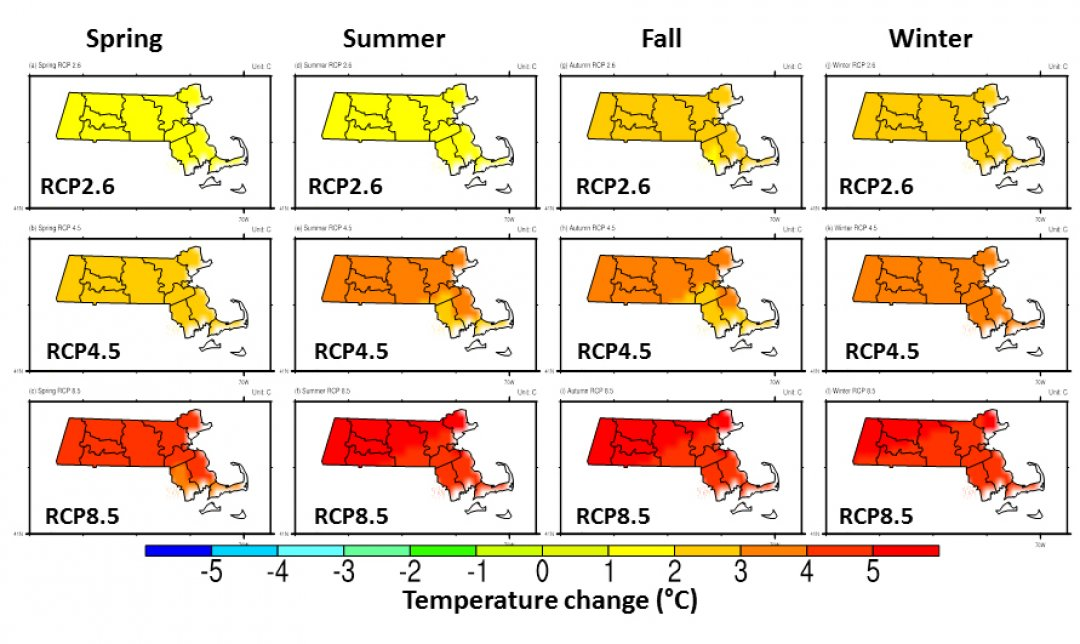 Projected changes in seasonal mean temperatures across Massachusetts using high resolution downscaled data and RCP 2.6 (low), 4.5 (moderate), and 8.5 (high) emission scenarios. Values represent the change between the 1950-1999 and the 2050-2099 averages. Image credit: L. Ning