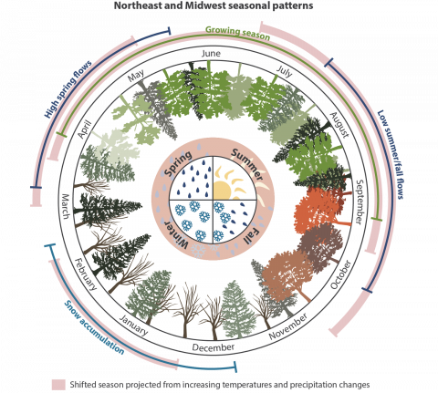 Conceptual diagram illustrating shifts in Northeast and Midwest seasonal patterns due to climate change. Diagram courtesy of the Integration and Application Network, University of Maryland Center for Environmental Science.