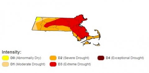 Broad-scale drought conditions across Massachusetts as of the start of the water year (September 27, 2016). Note that this map shows broad-scale drought conditions, and local conditions may vary. This map shows that the recent drought of 2016 has affected much of the state. Photo credit: U.S. Drought Monitor