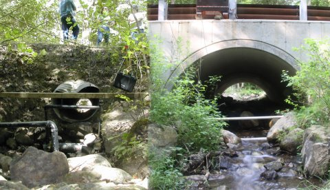 Mitchell Brook in Whately, MA, before and after culvert replacement. The PVC piping in the photos are antennae to monitor the passage of fish through the crossing. Researchers report that not only are more brook trout moving from the West Brook up into Mitchell Brook but dace are now being found in the stream for the first time. Photo credit: Scott Jackson.