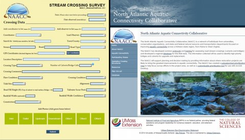 Screen shots of the NAACC web site and digital data form for road-stream crossing assessments.