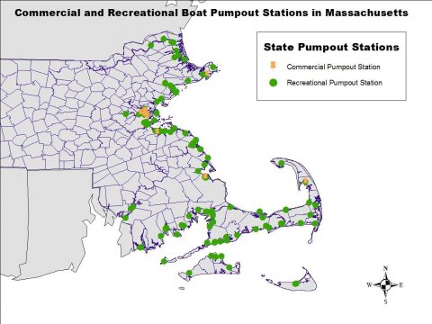 Recreational boat pumpout stations (122) and commercial boat pumpout stations (18). Map created by Amanda Davis. Data acquired from Massachusetts Office of Energy and Environmental Affairs