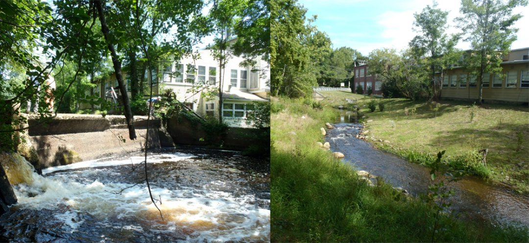 The Jones River before and after the removal of Wapping Road Dam. Photo Credit: MA Division of Ecological Restoration.